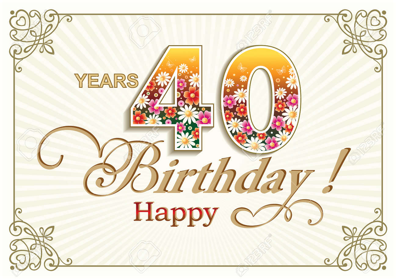 Greeting Card Birthday 40 Years Stock Vector