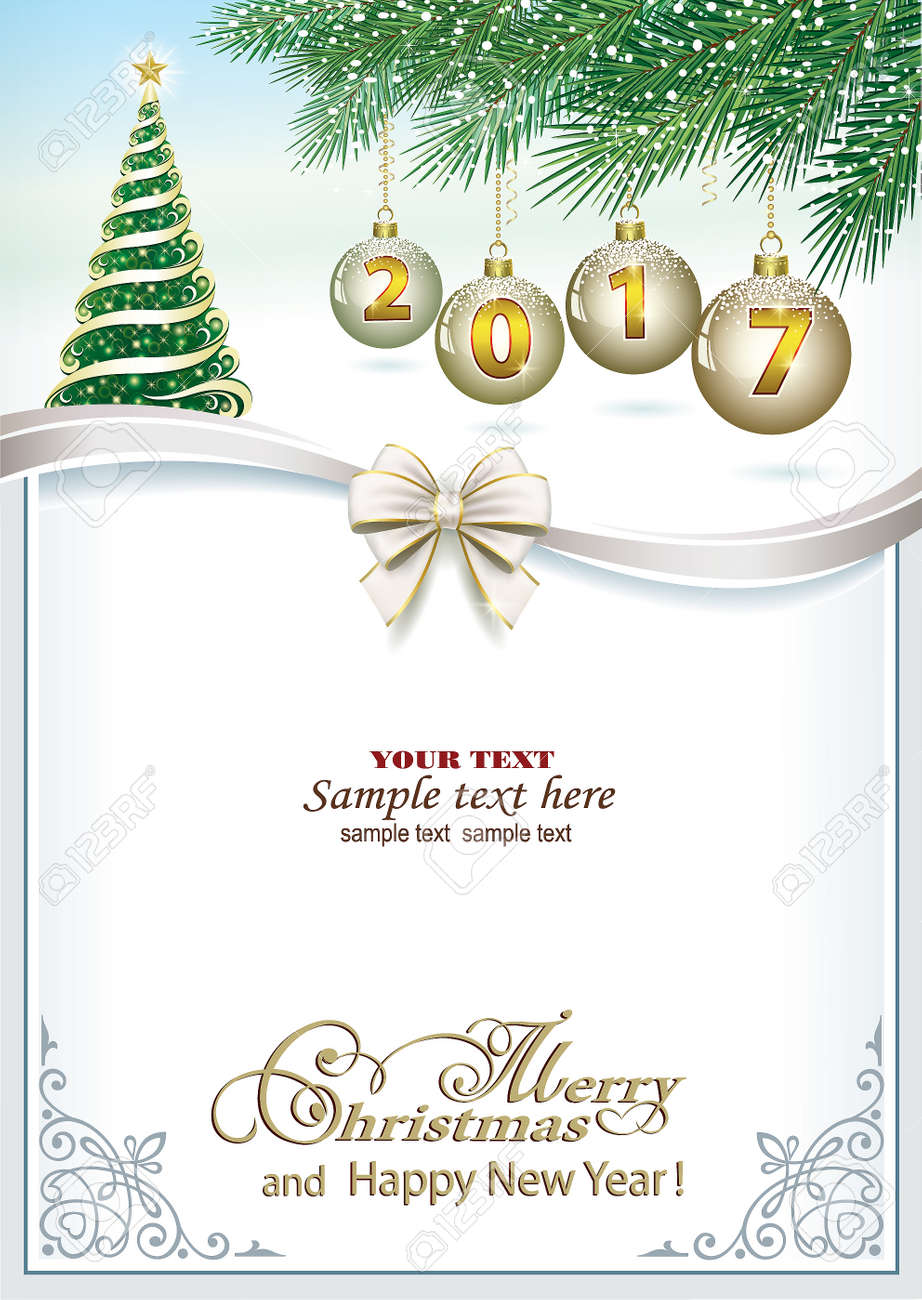 2017 Christmas Card With A Christmas Tree Balls And Ribbon With