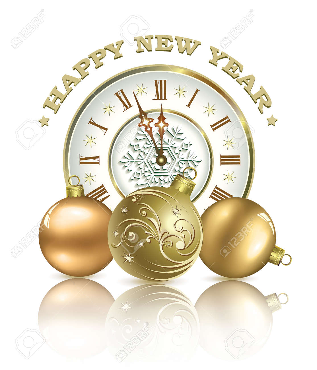 Postcard Happy New Year With Clock And A Ball On A White Background ...