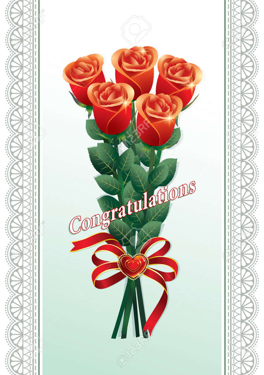 Happy Birthday Greeting Card With A Bouquet Of Red Roses Royalty