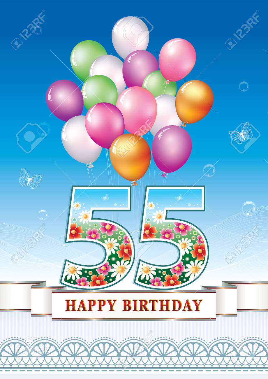 Anniversary Postcard 55 Years Old With Balloons Stock Vector