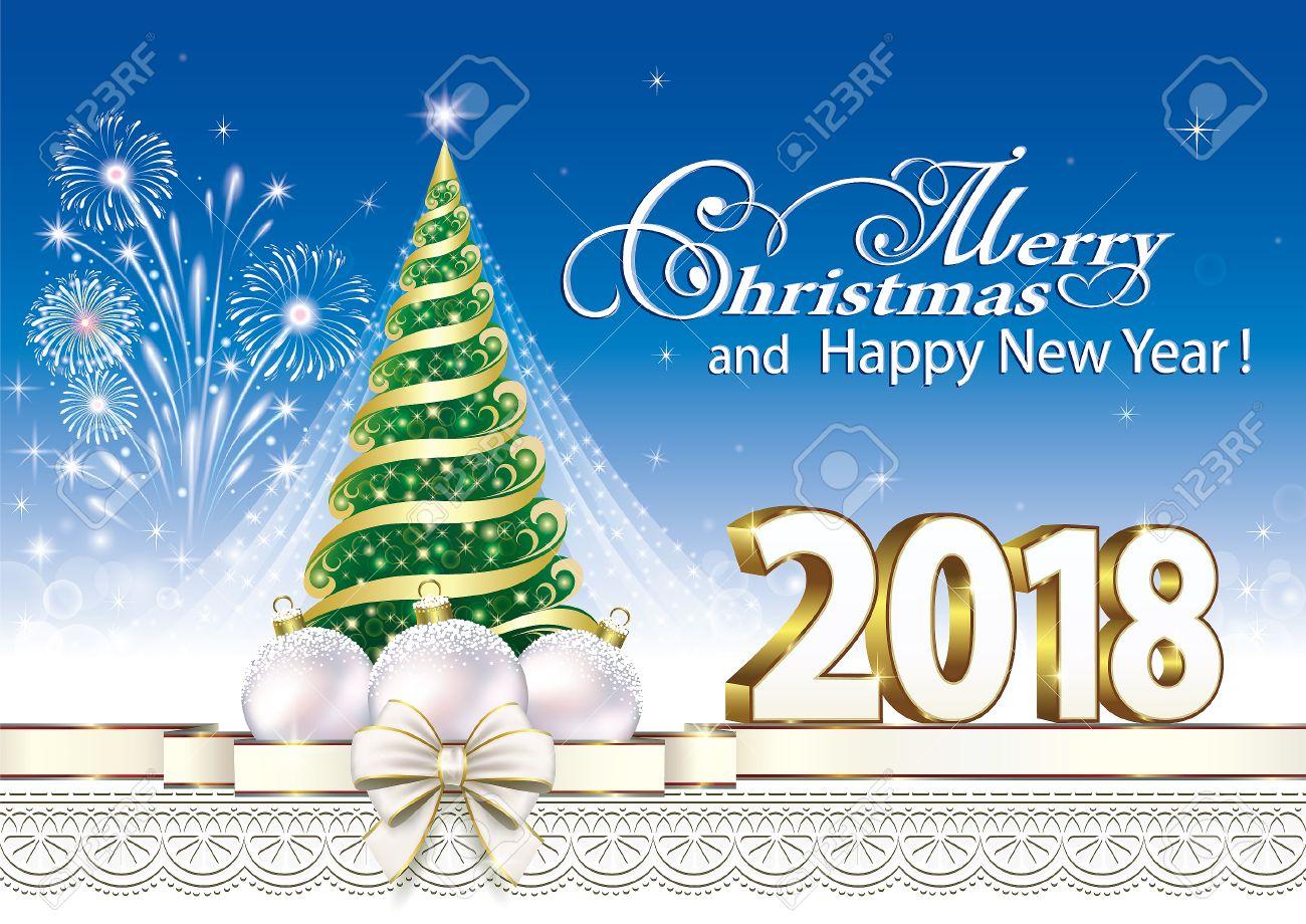 2018 Christmas Card With A Christmas Tree And Balls On The ...