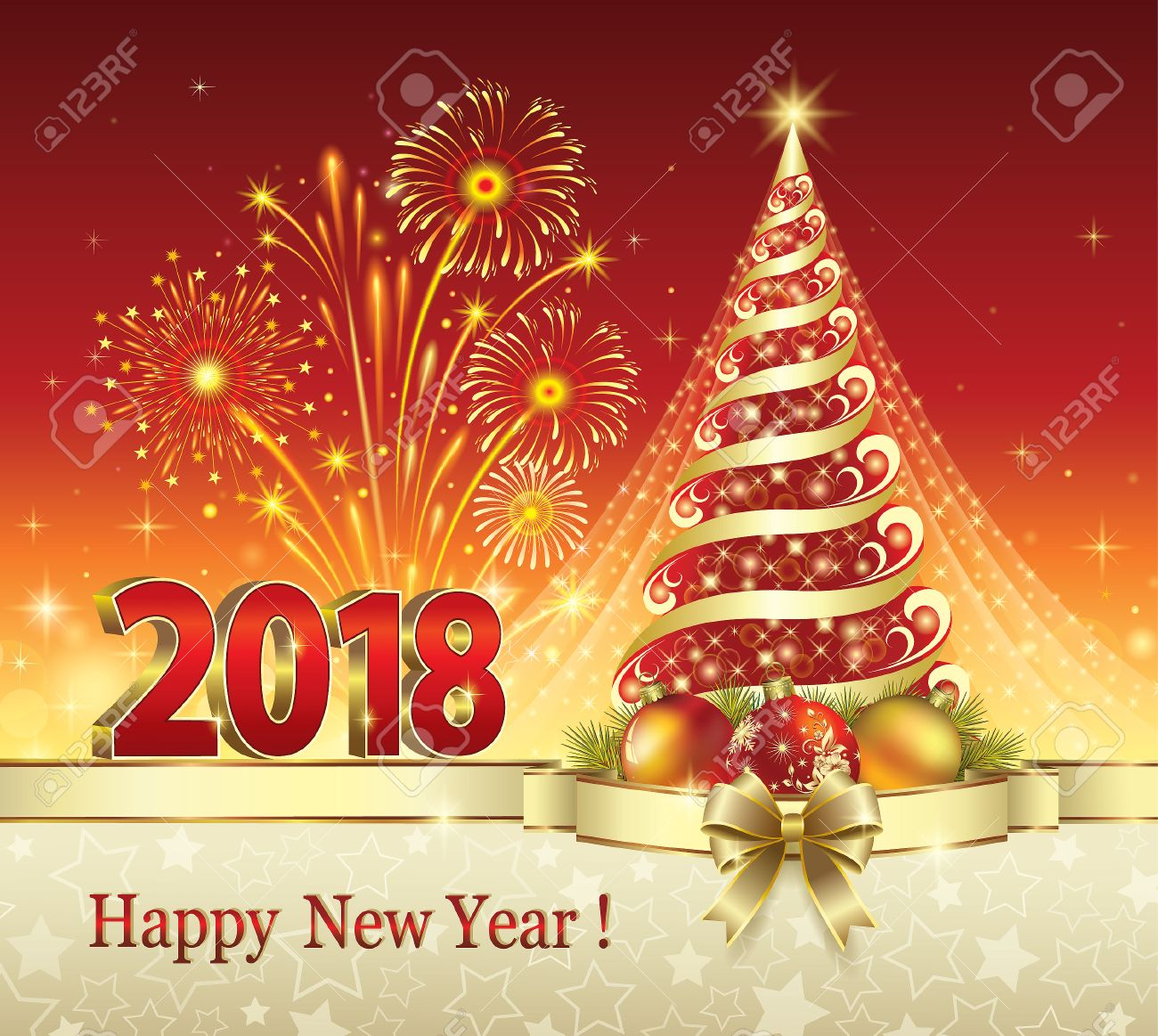 Postcard Happy New Year 2018 With A Christmas Tree Royalty Free ...