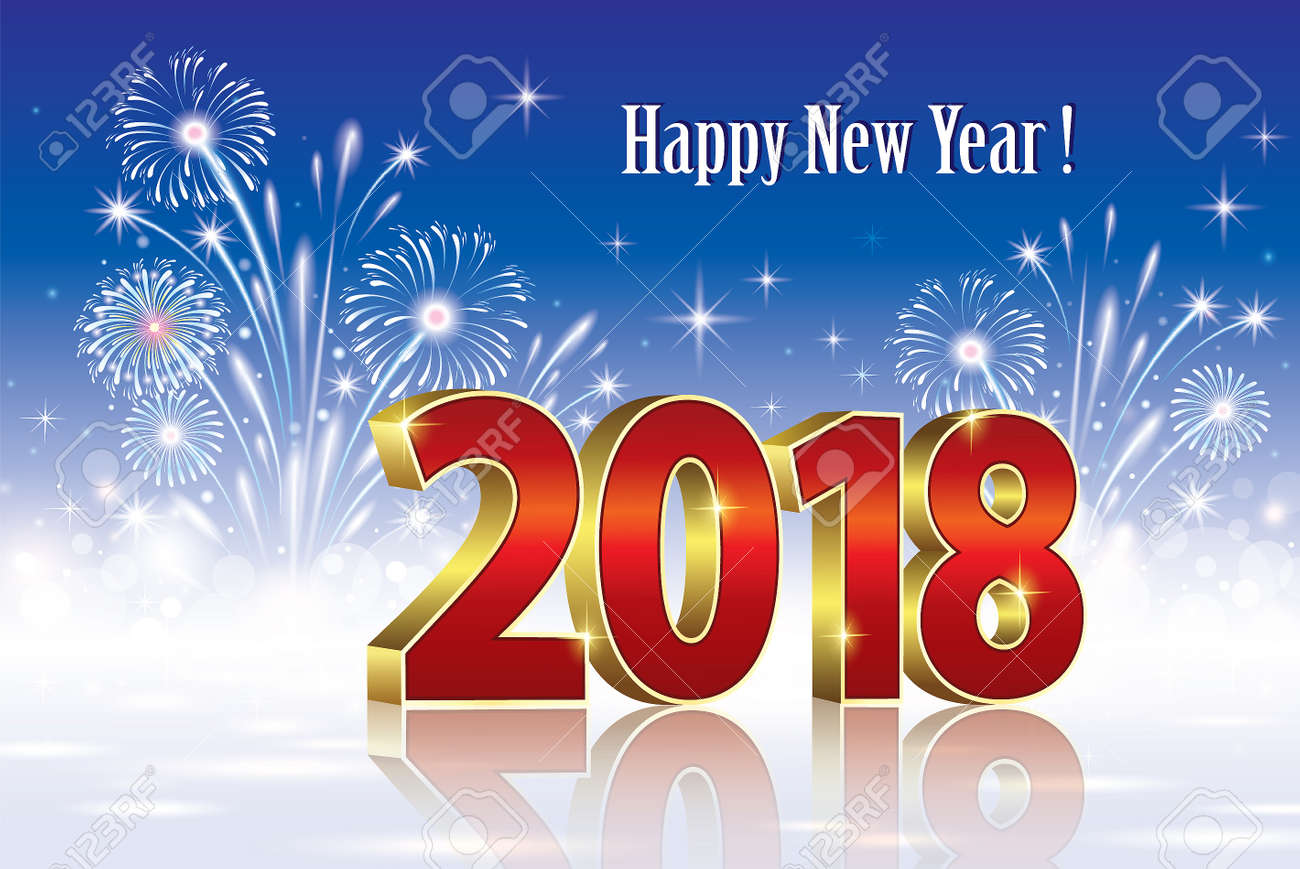 postcard happy new year 2018 on a background of fireworks stock vector 84445335