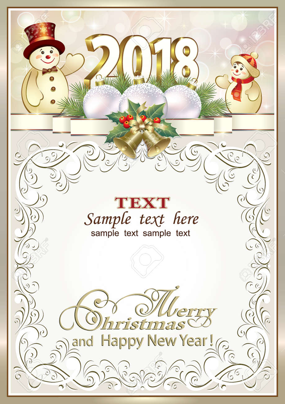 Postcard Happy New Year 2018 With Snowmen In A Frame With An