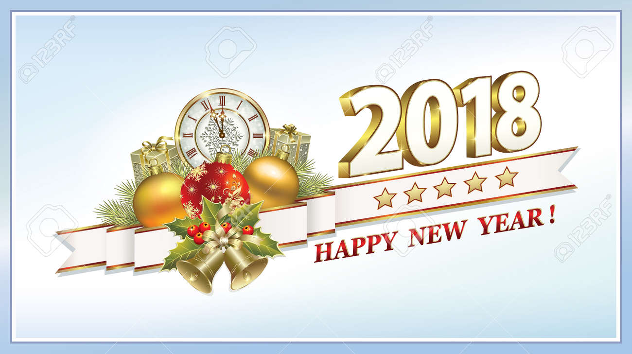 Happy New Year 2018 And Merry Christmas Stock Vector   86554589