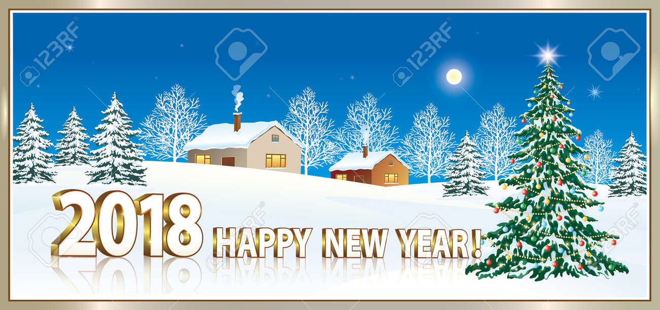 happy new year 2018 with a christmas tree on the background of nature stock vector