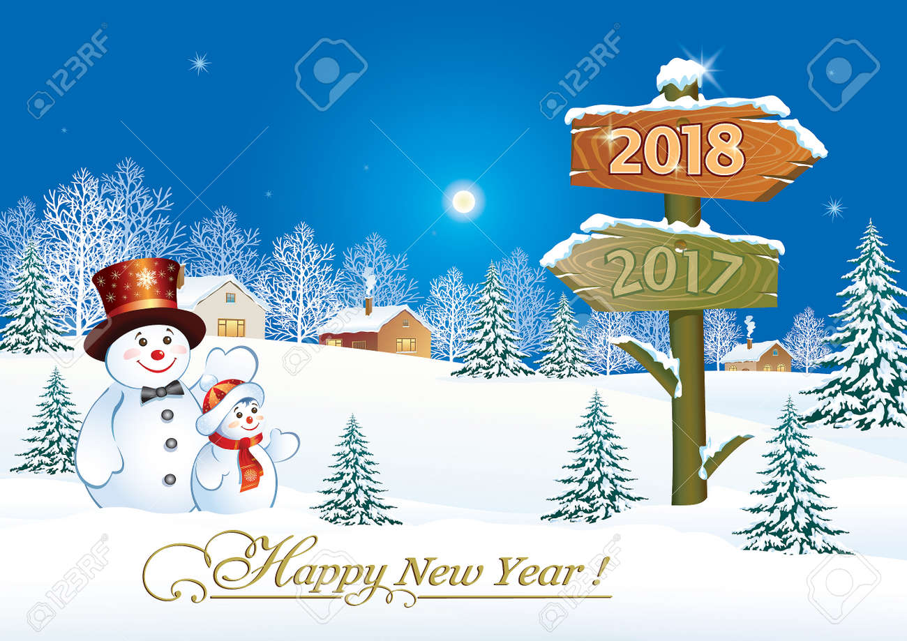 happy new year 2018 with snowmen against the background of the winter landscape stock vector