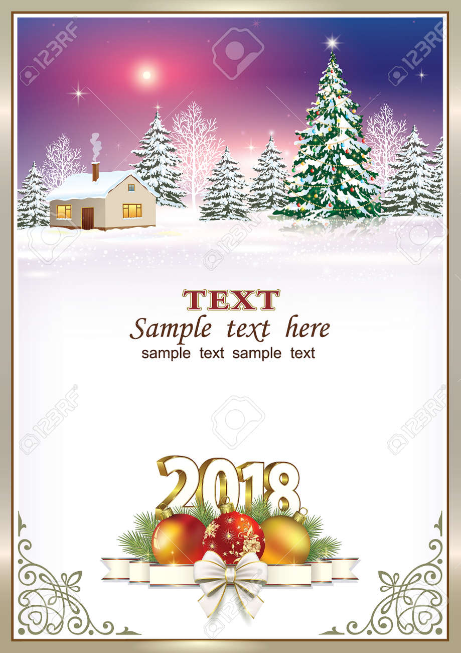 happy new year 2018 on nature background in frame with ornament stock vector 87862149