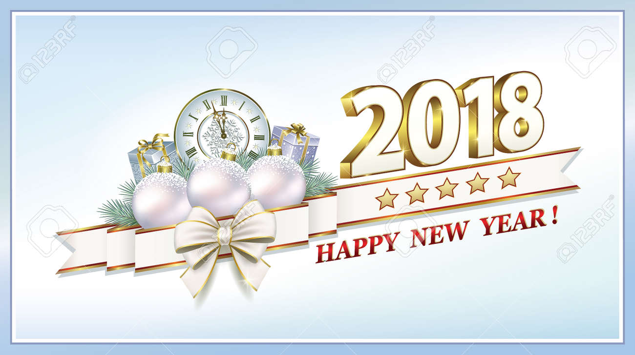 Happy New Year 2018 With Christmas Gifts Royalty Free Cliparts ...