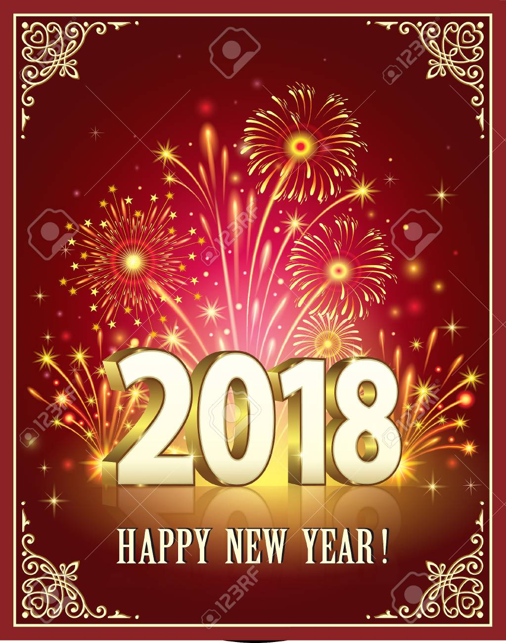 happy new year of 2018 against the background of fireworks stock vector 88020893