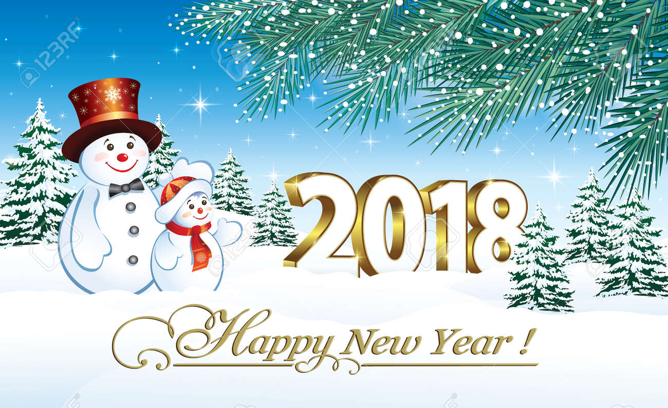 happy new year 2018 with a snowmen on the background of nature stock vector 88178243