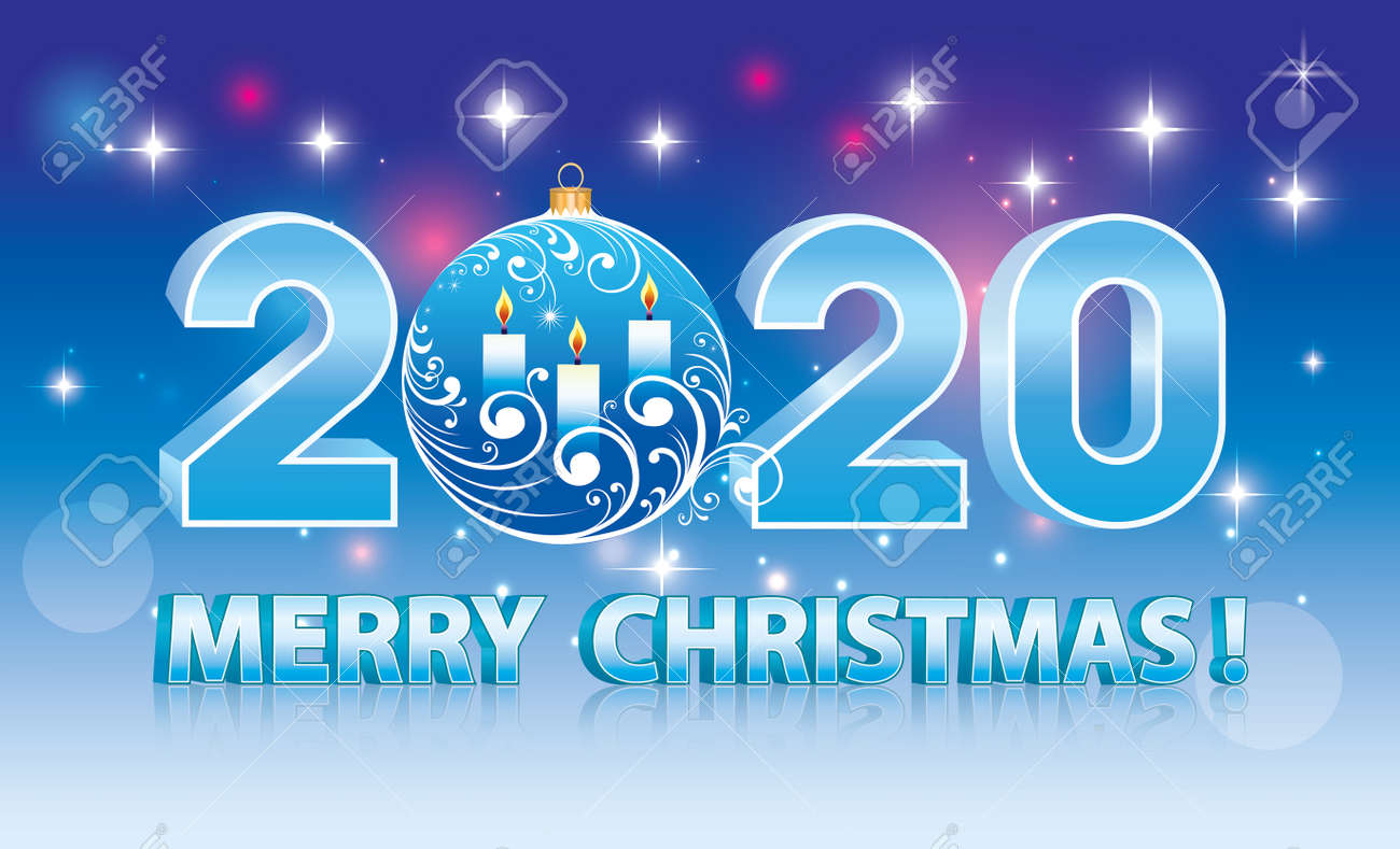 A Merry Christmas 2020 Merry Christmas 2020. Banner Blue Sparkling Background With Stars