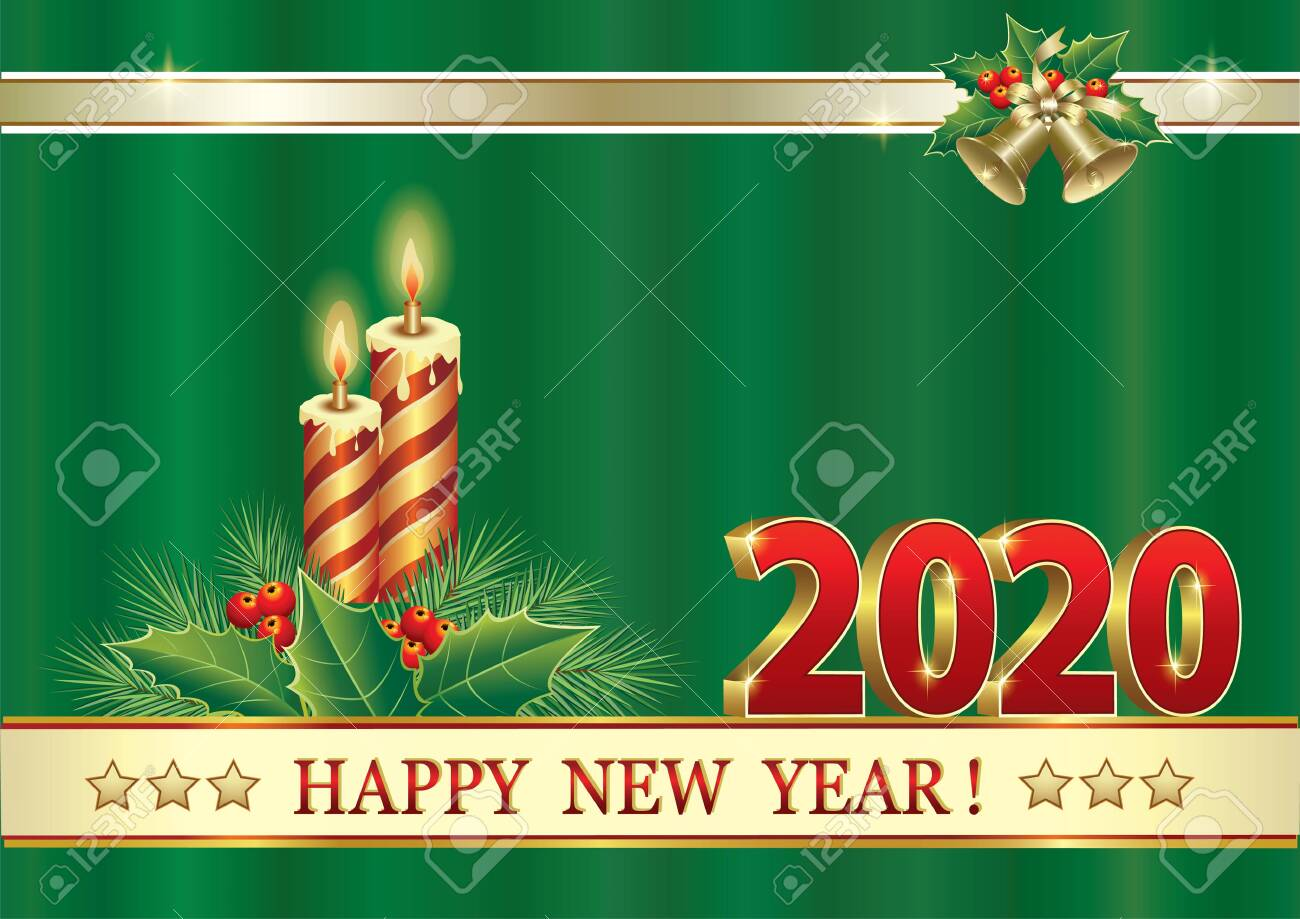 Merry Christmas And Happy New Year 2020.Merry Christmas And Happy New Year 2020 Christmas Card With