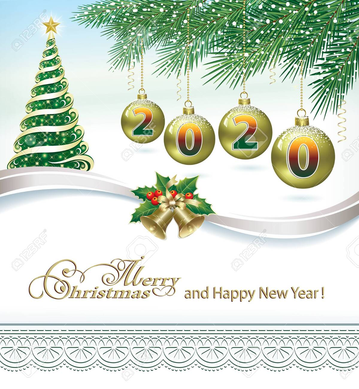 Merry Christmast and Happy New Year 2020. Christmas tree