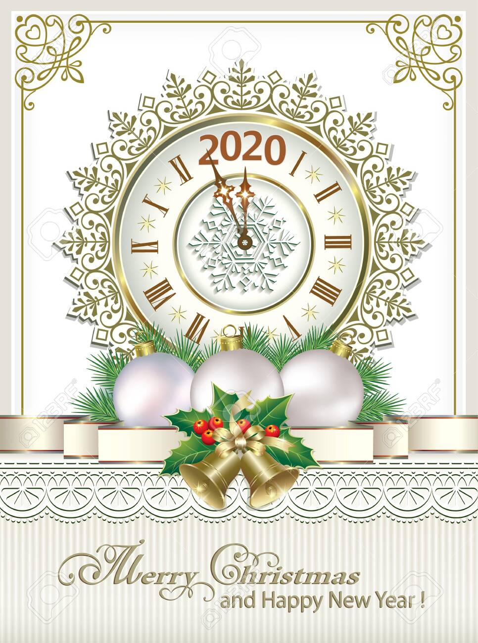 2020 Merry Christmas And Happy New Year. Greeting Card With Clock