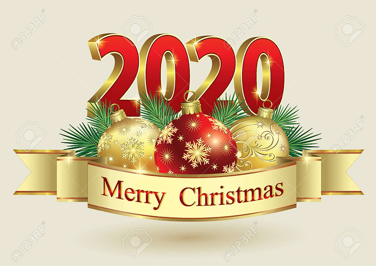 2020 Christmas Date Happy New Year 2020 Banner With Christmas Balls Ribbon Golden
