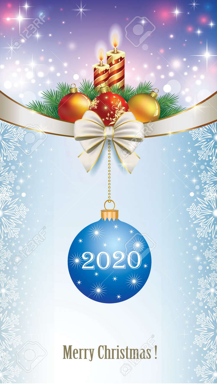Christmas 2020 Background Merry Christmas 2020 Background With Candles, Decoration And