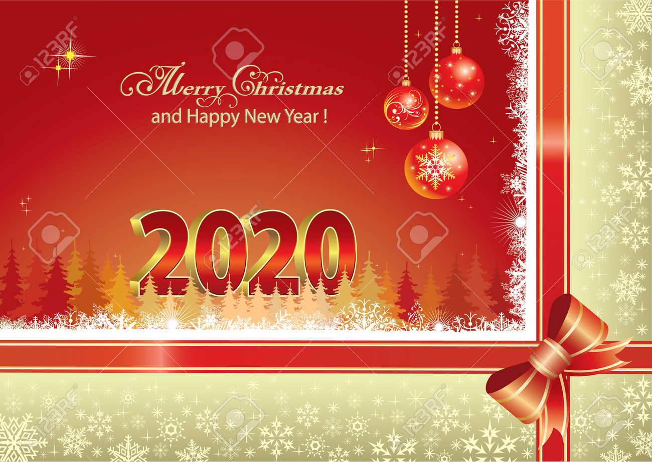Free Christmas Postcard 2020 Merry Christmas And Happy New Year 2020. Christmas Greeting Card