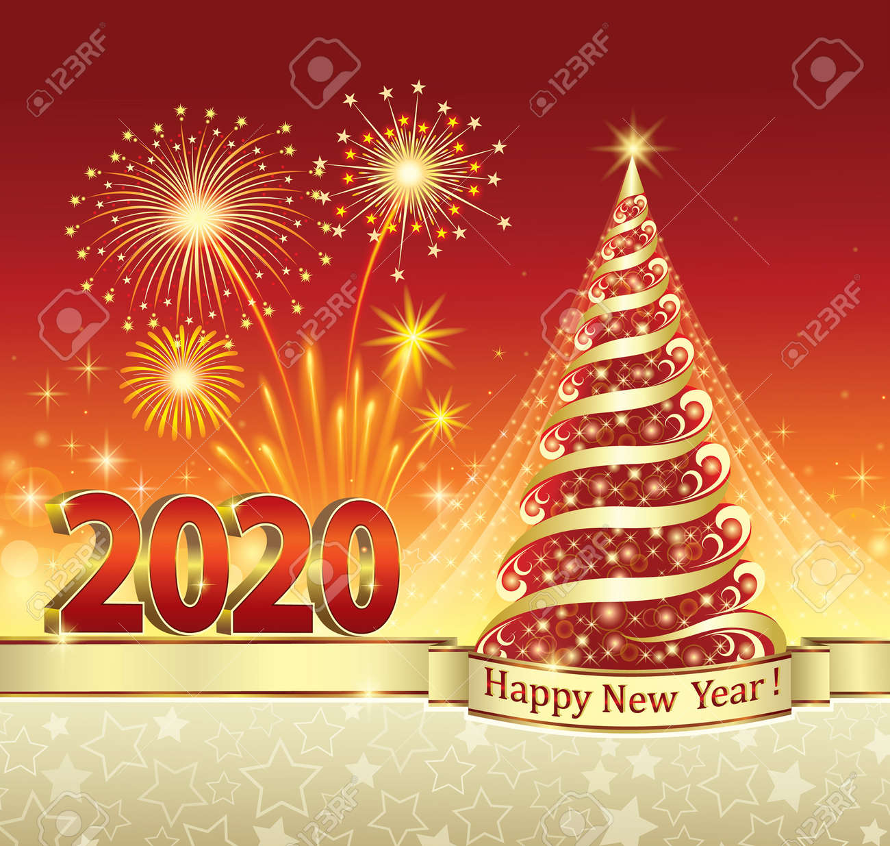 2020 New Year celebration with Christmas tree and fireworks. Greeting card with stars and red background decorated with gold ribbon.Vector illustration - 131066633