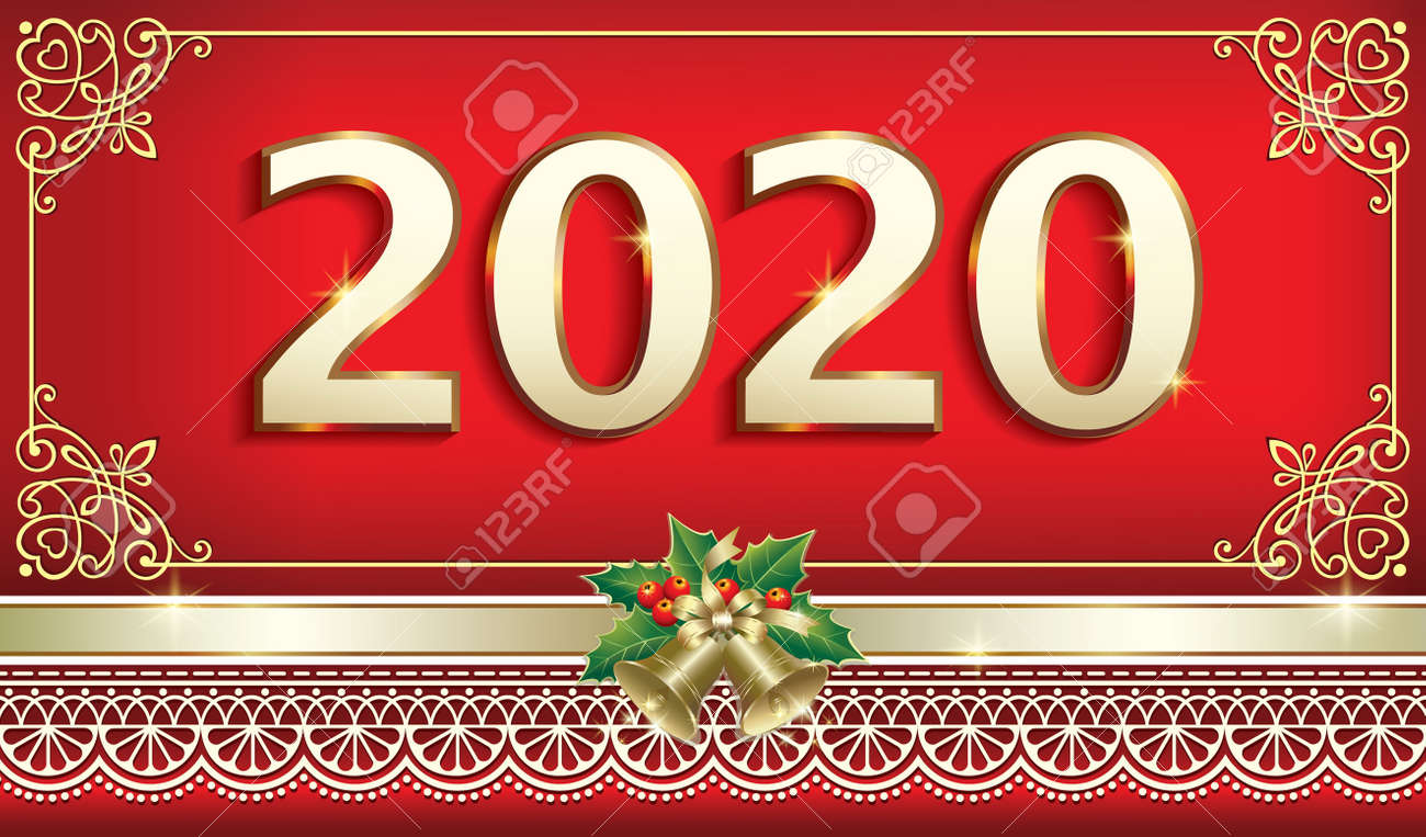 Christmas Date 2020 Merry Christmas And Happy New Year 2020. Greeting Card With The