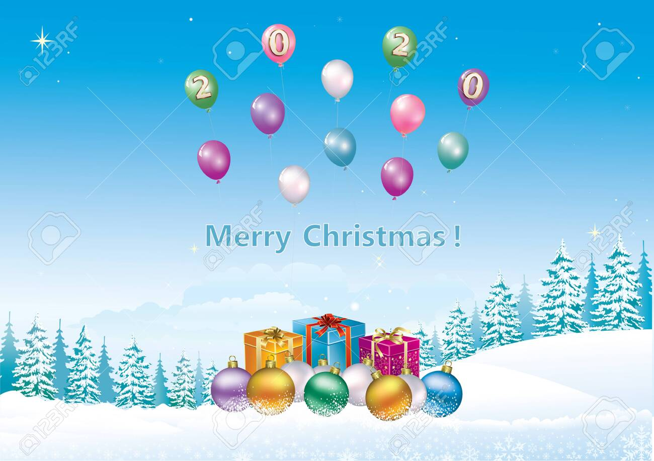 Happy New Year 2020. Christmas card with gift boxes, balls on background of winter snowy landscape with fir trees and balloons. Vector illustration - 134230970