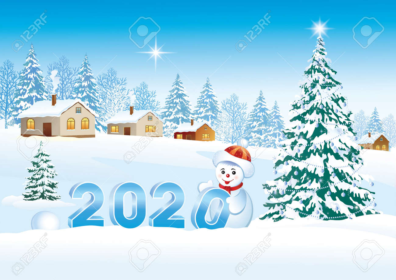 Happy New Year 2020. Postcard with a Christmas tree and a snowman. Vector illustration - 134823253