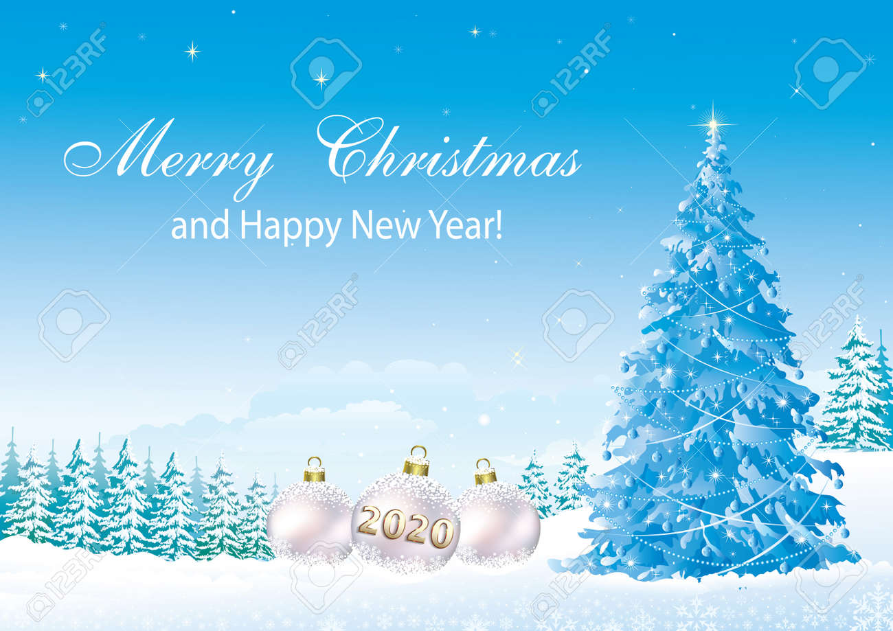 Happy New Year 2020. Christmas tree on a background of snowy winter - 134823265