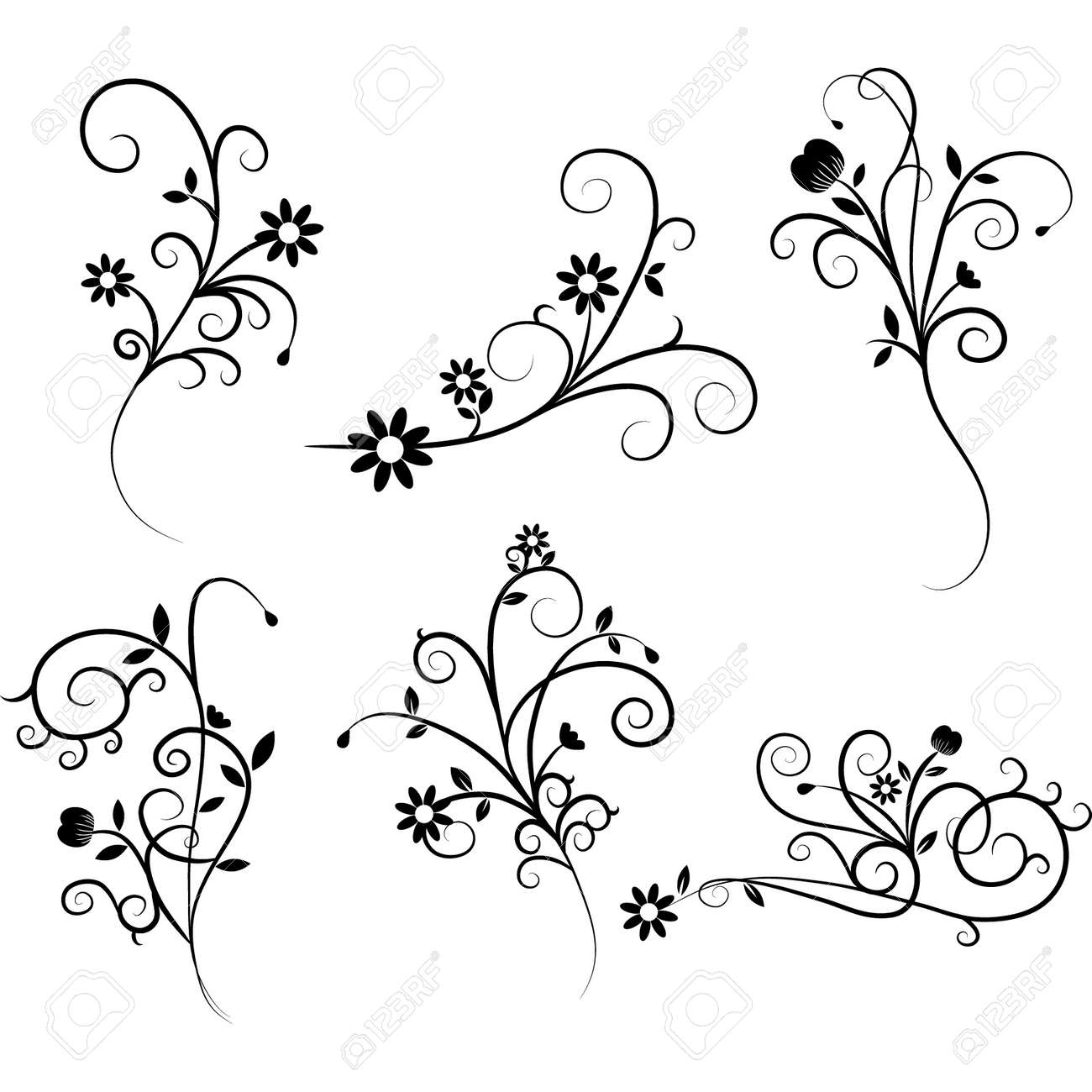 flower flourish swirl set royalty free cliparts vectors and stock rh 123rf com Swirl Heart Clip Art Decorative Swirls Clip Art