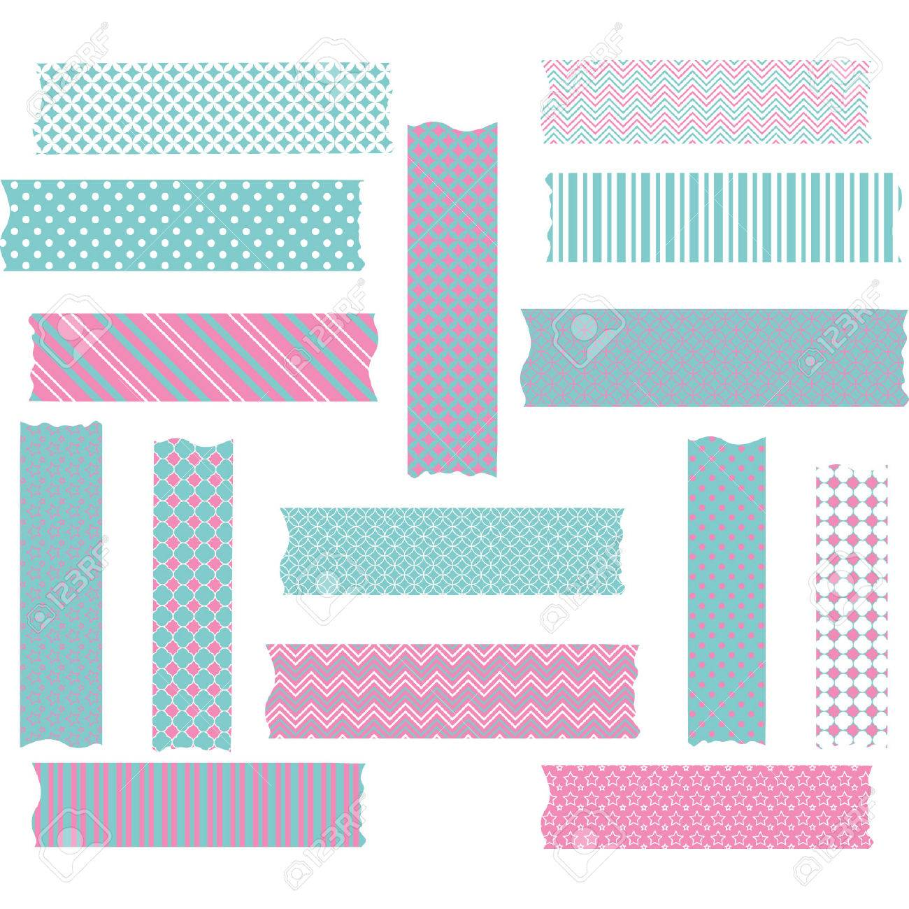 Pink And Aqua Washi Tape Graphics Set Royalty Free Cliparts Vectors