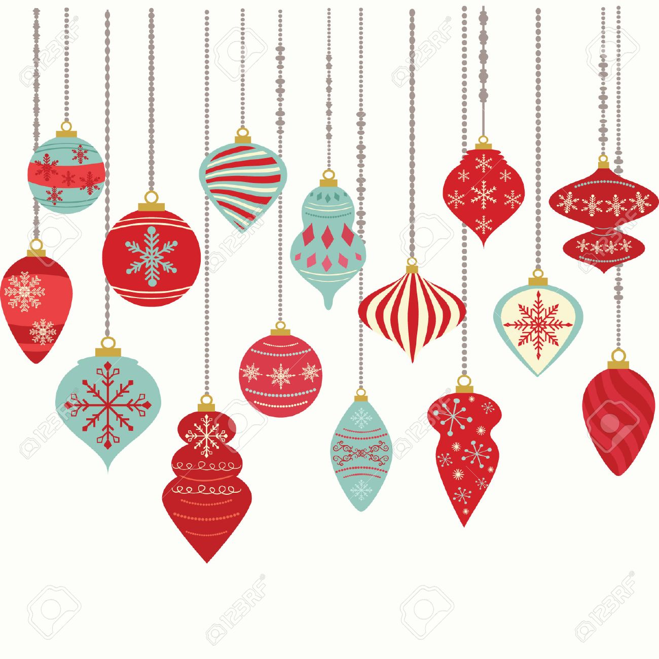 christmas ornamentschristmas balls decorationschristmas hanging decoration set stock vector 47654466