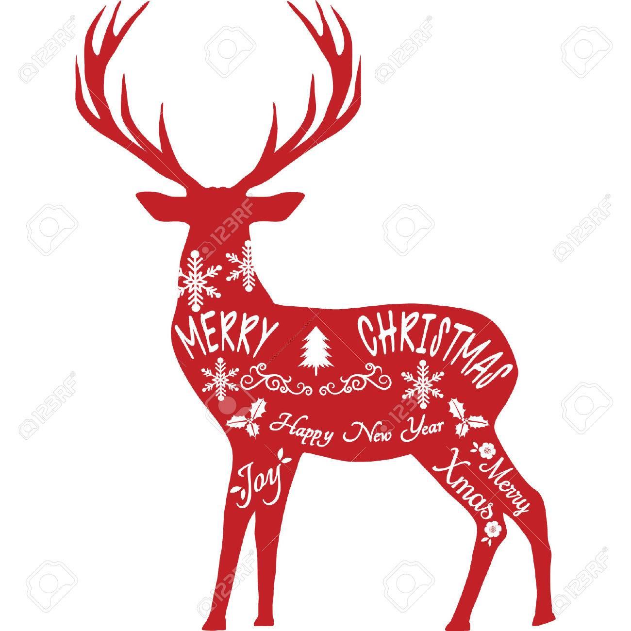 Christmas Reindeer Silhouette.Merry Christmas Reindeer Reindeer Silhouette Red Reindeer Isolated