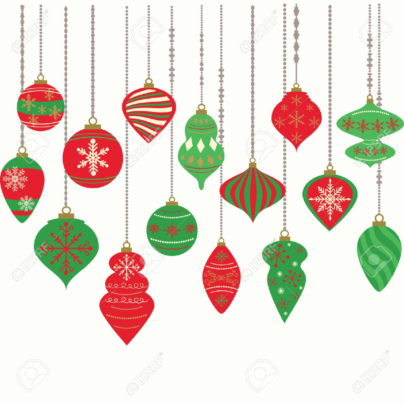 Hanging Christmas Decorations.Hanging Christmas Ornaments Isolated On White