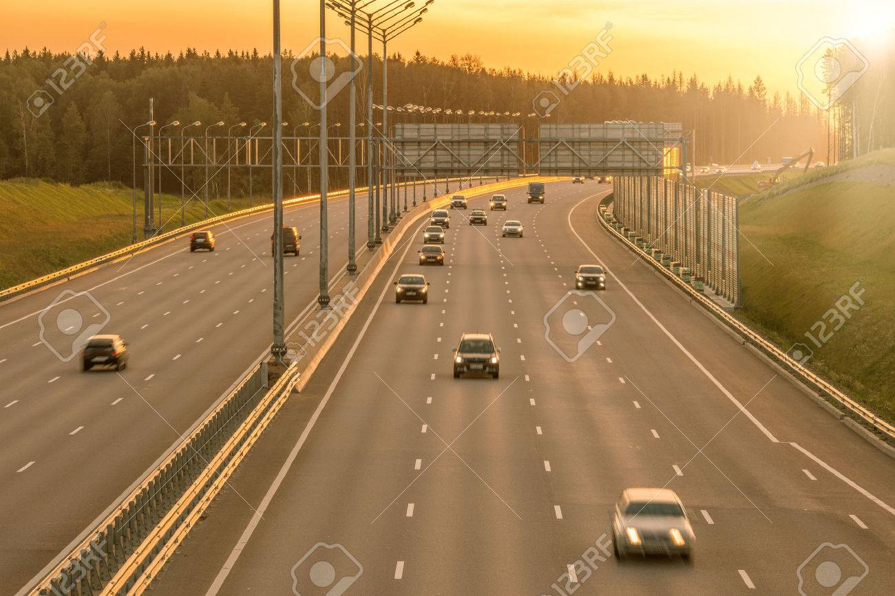 View of the new highway at sunset time. - 51915525