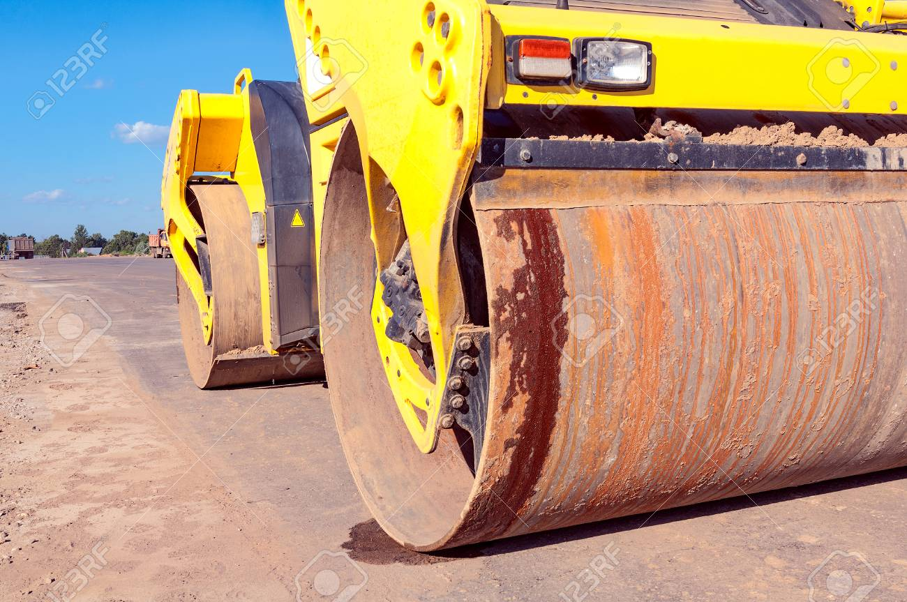 Part of road roller during the new road construction process