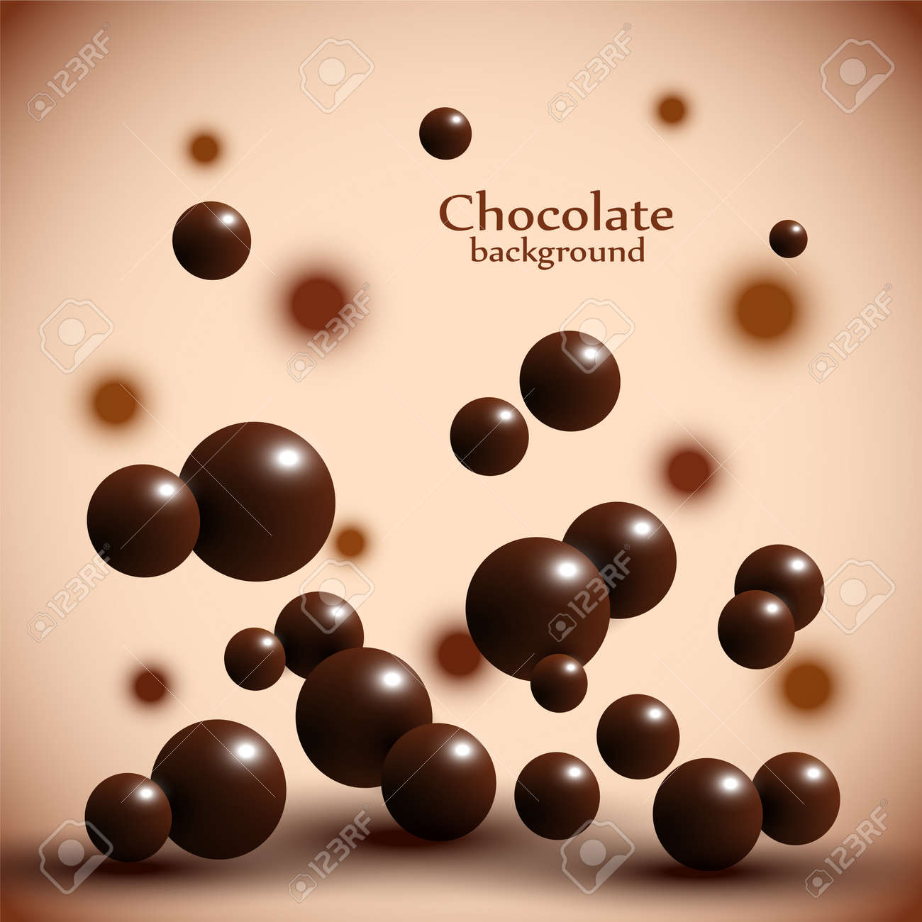 Dark chocolate balls on abstract background. Vector illustration - 76241872