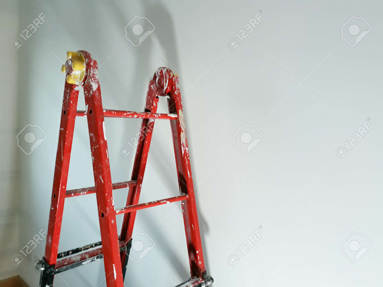 Different Angles Of A Painter S Ladder In A Room To Be Refurbished Stock Photo Picture And Royalty Free Image Image 92580329