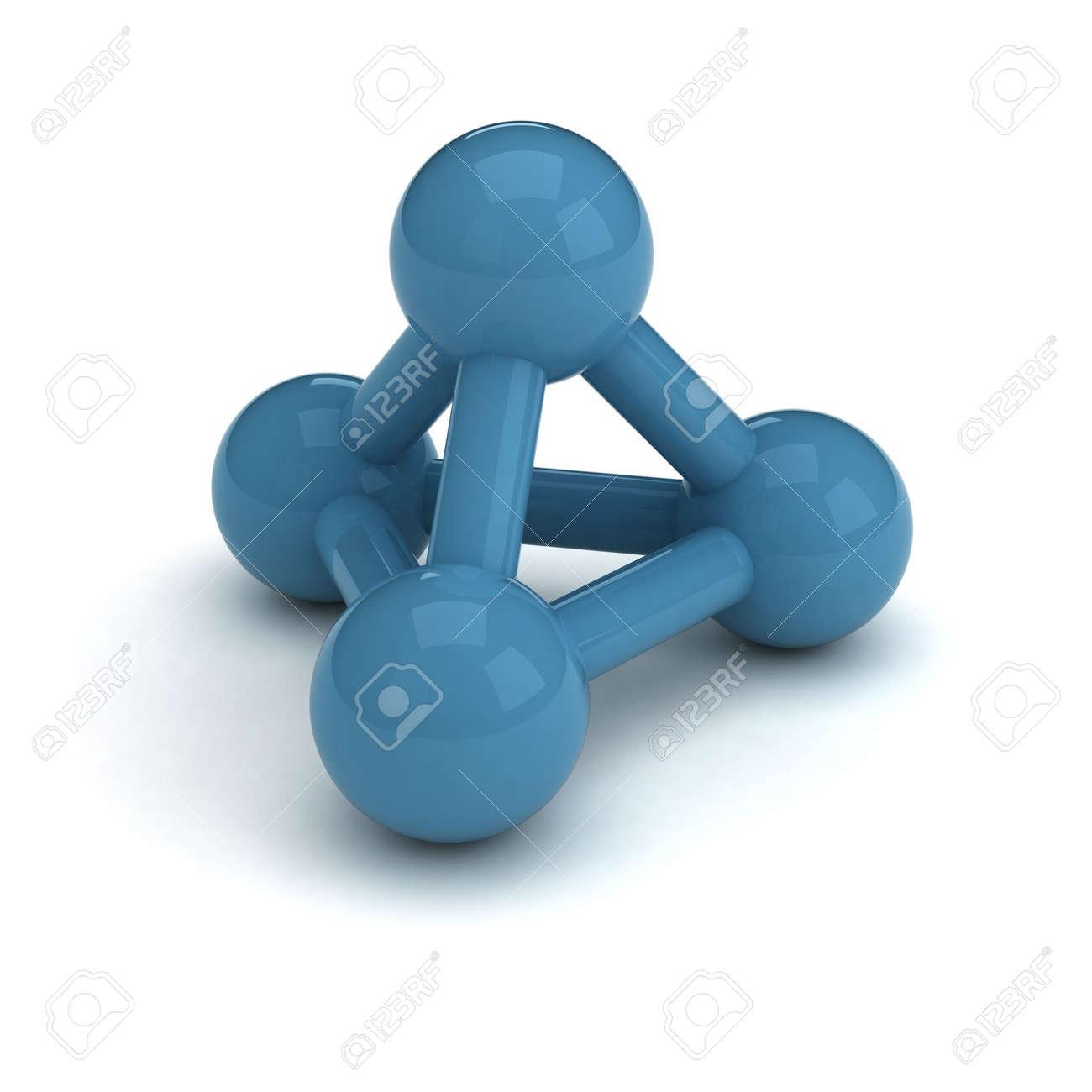 Verbindungssymbol. 3 Kugeln Blau Glänzende Kunststoff, Miteinander ...