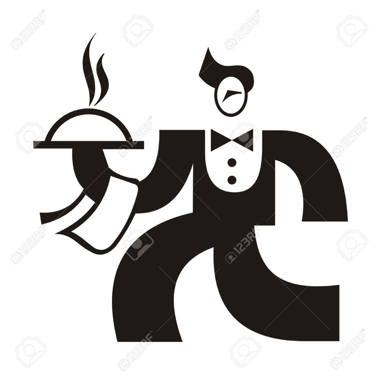 Waiter with Tray Stock Vector - 15750313
