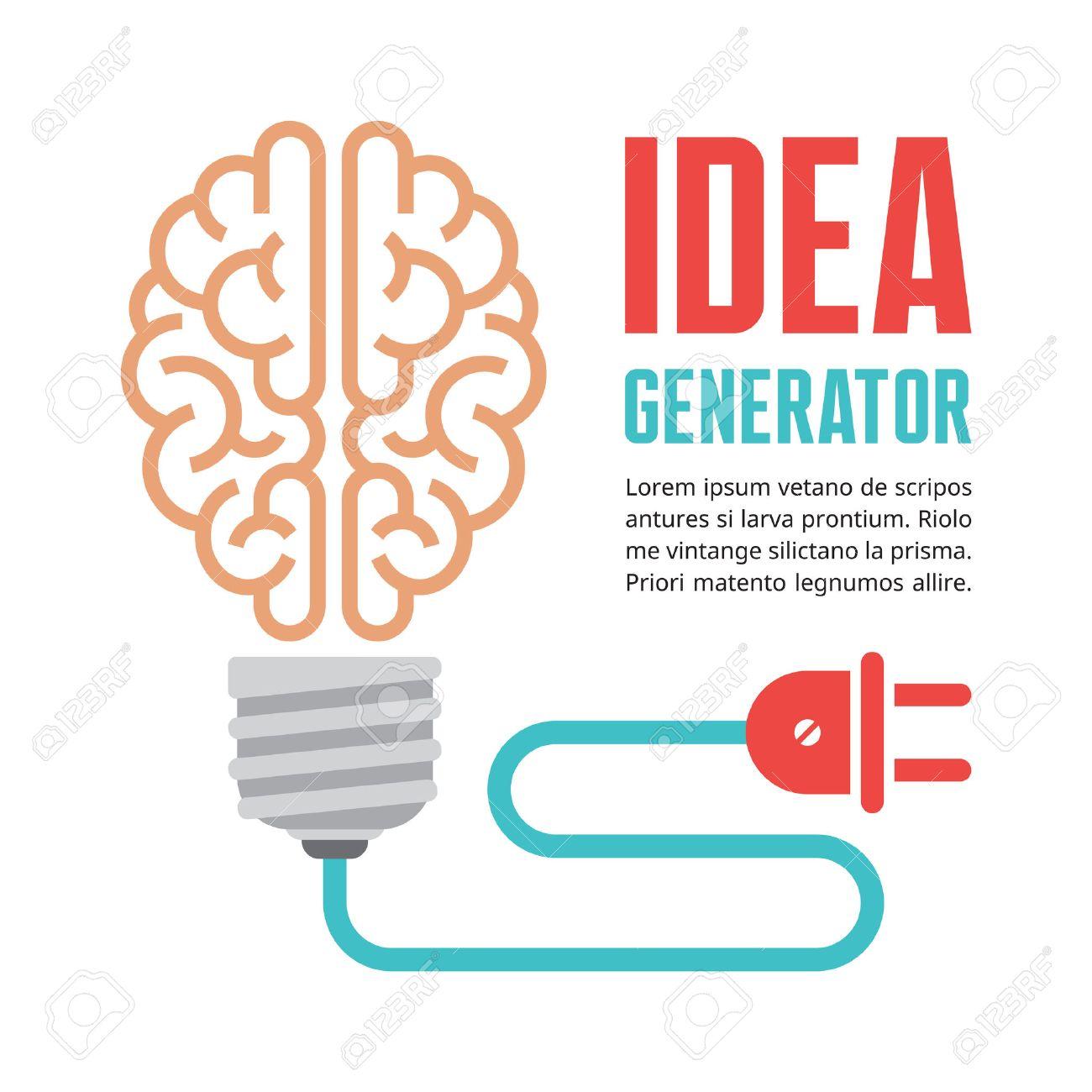 Human Brain In Light Bulb Vector Illustration Idea Generator