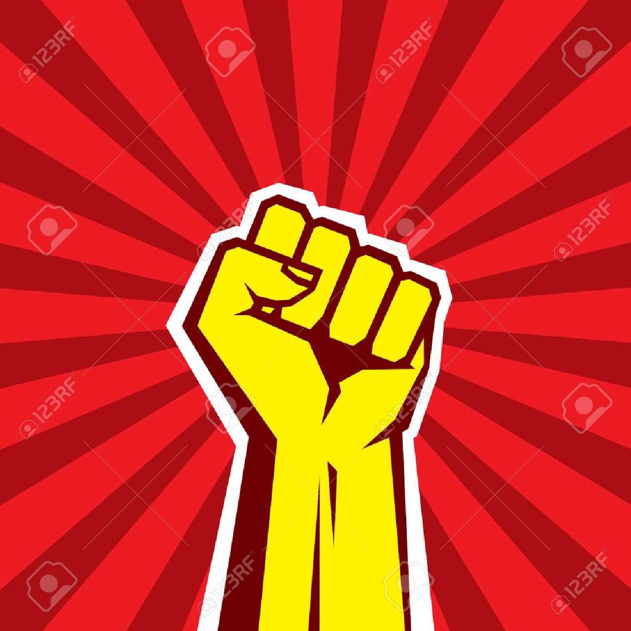 Hand Up Proletarian Revolution Vector Illustration Concept