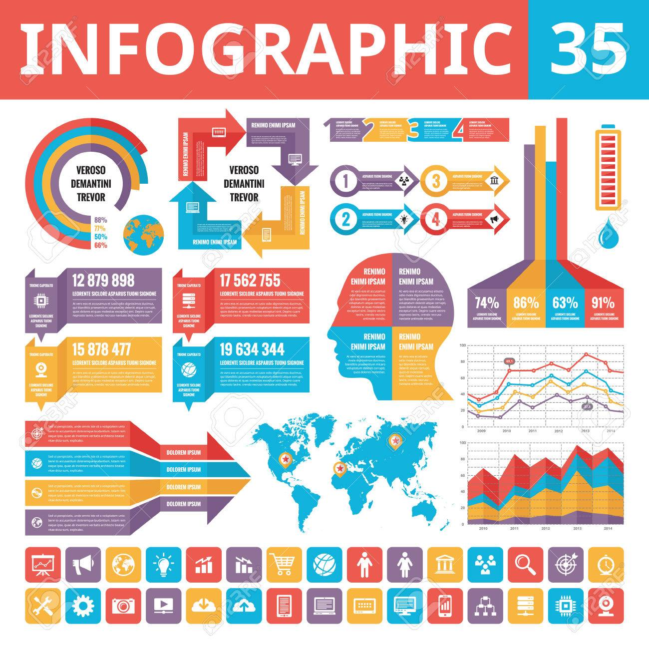 Infographic Elements 35. Set Of Vector Design Elements In Flat ...