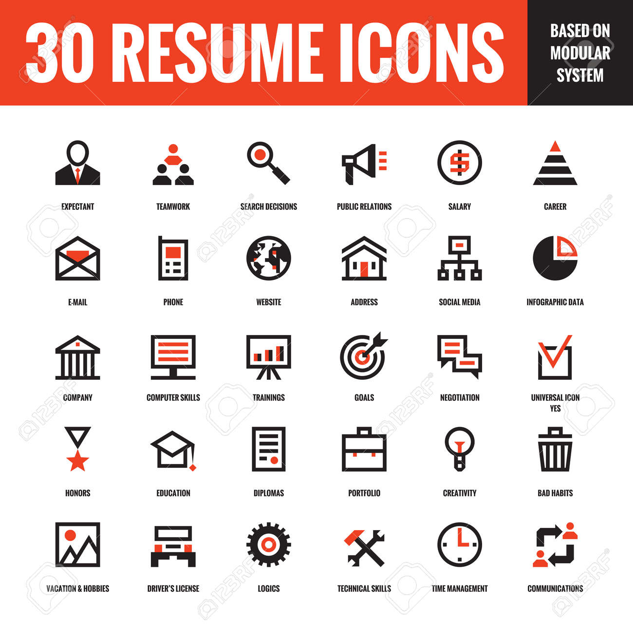 30 resume creative vector icons based on modular system. set