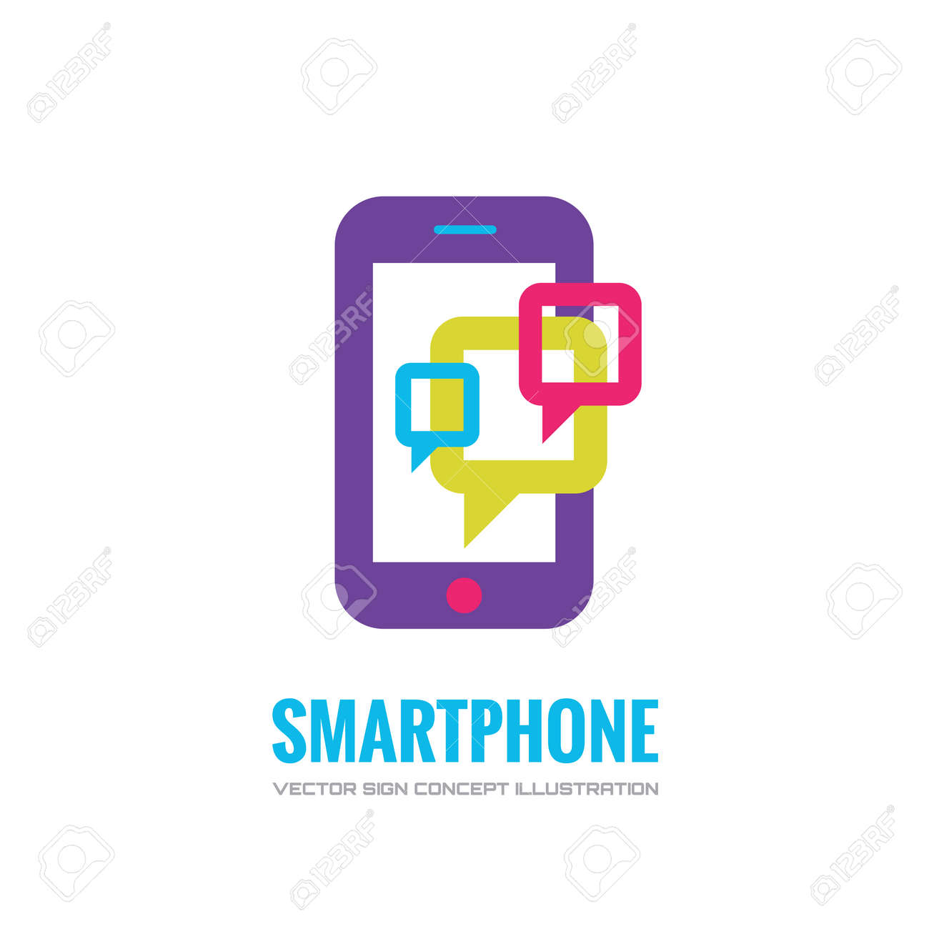 Smatphone vector logo concept illustration. Mobile phone vector logo creative illustration. Mobile technology logo. Cellpnone logo. Mobile phone logo design. Vector logo template. Design element. - 52809437