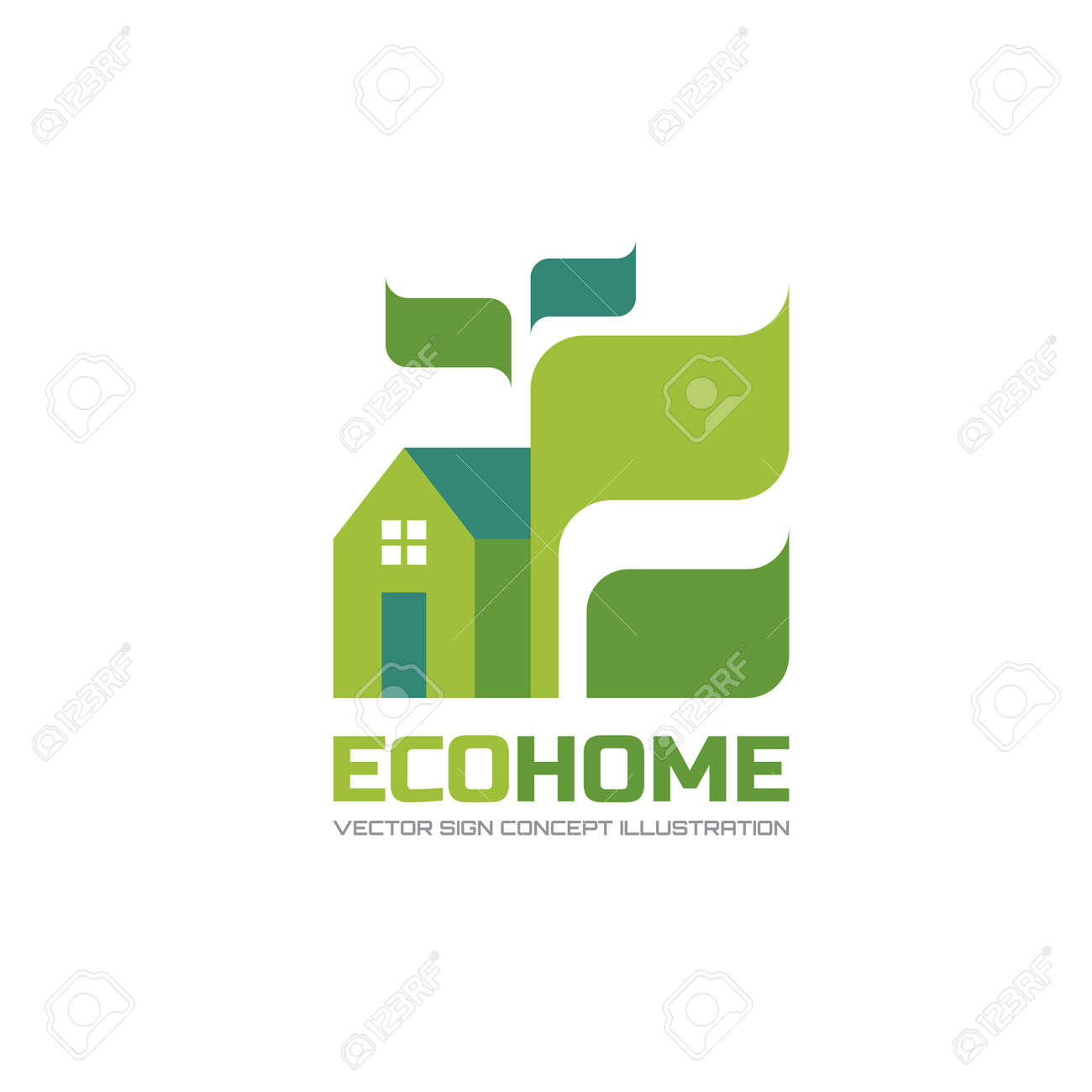 Eco Home - Vector Logo Concept Illustration In Flat Style Design ...