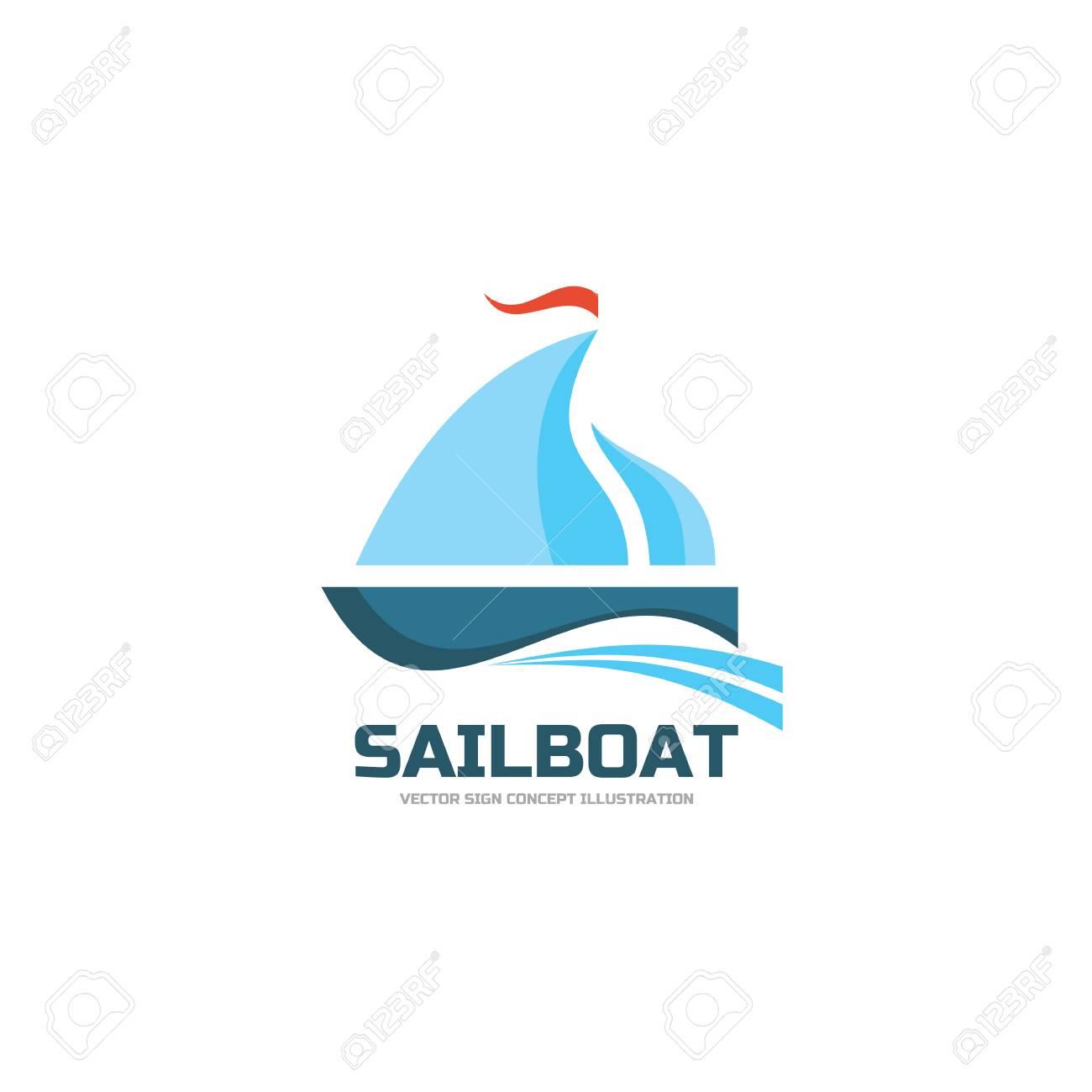 sailboat vector logo concept illustration ship sign sea trip