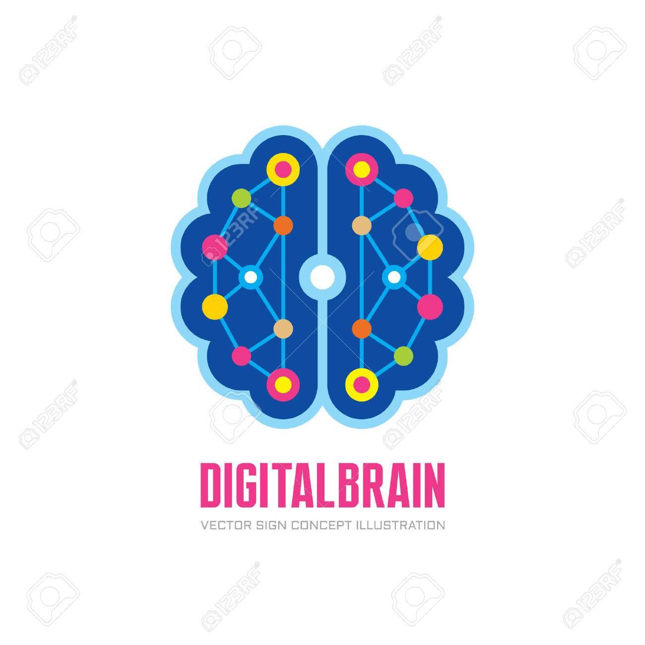 Vector De La Insignia Ilustración Del Concepto En El Diseño De Estilo Plano Cerebro Humano Digital Mente Insignia De La Muestra Tecnología De