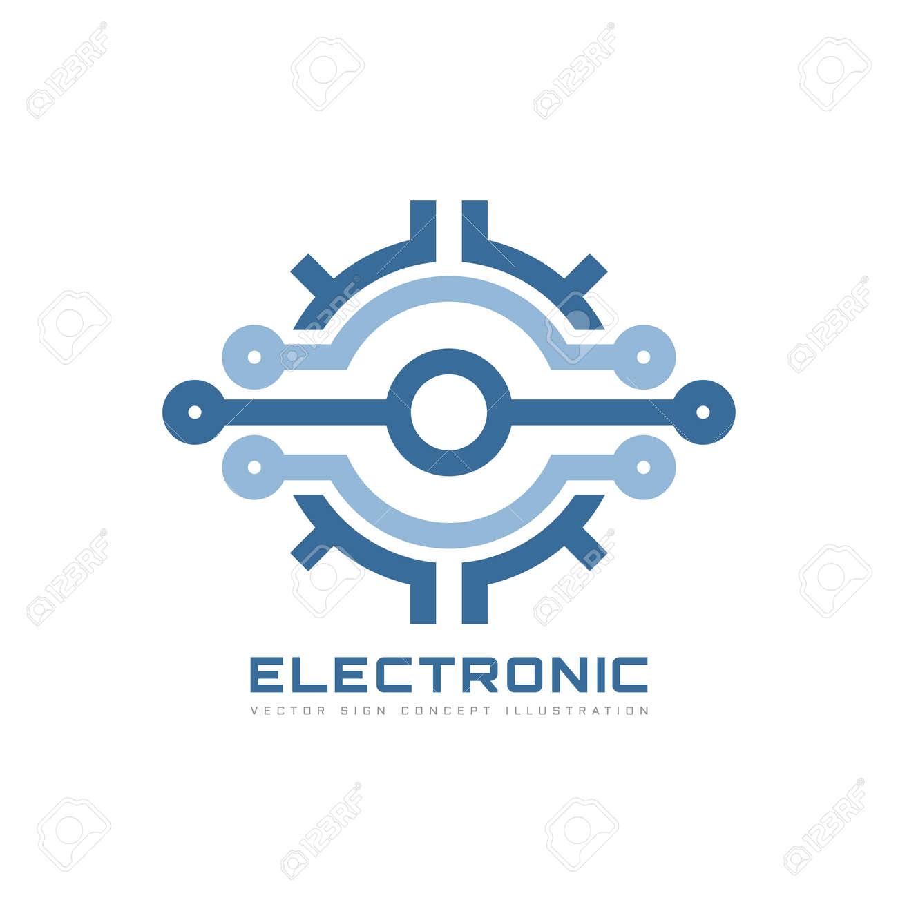 95d4013f2782f Technologie électronique - modèle de logo d'entreprise vectorielle pour  l'identité de l