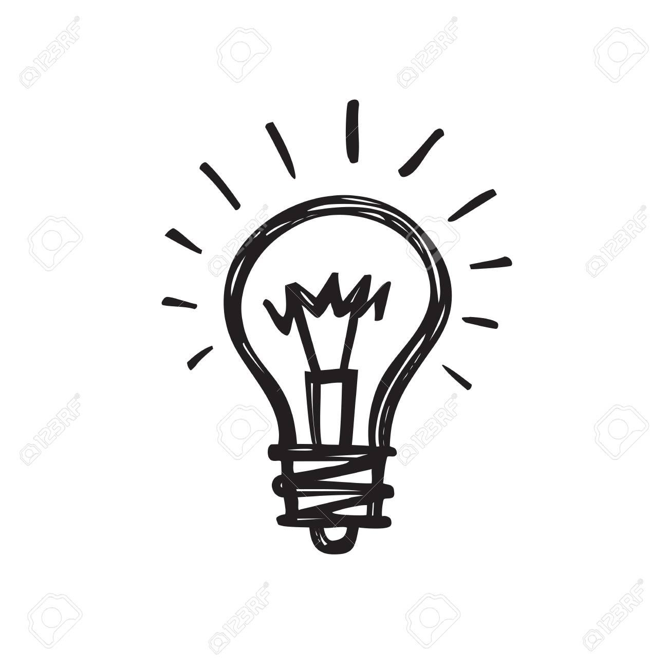Light Bulb Creative Sketch Draw Vector Illustration Electric