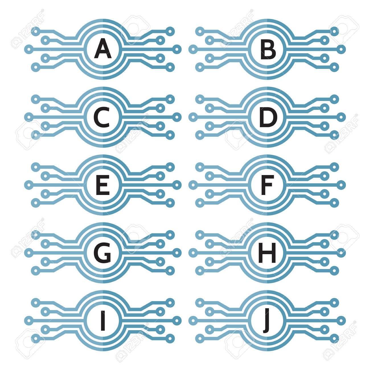 9d6b6342937c8 Tecnología De La Computadora Moderna - Ilustración Del Concepto De La  Plantilla De La Insignia Del Vector Para Cualquier Letra A